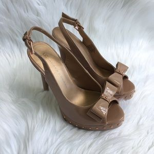 Lauren Conrad Leah Pep Toe Studded Slingback Heels
